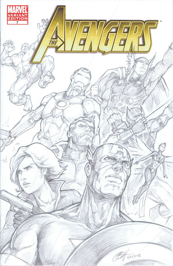 Avengers sketch on blank variant by Daniel Wong
